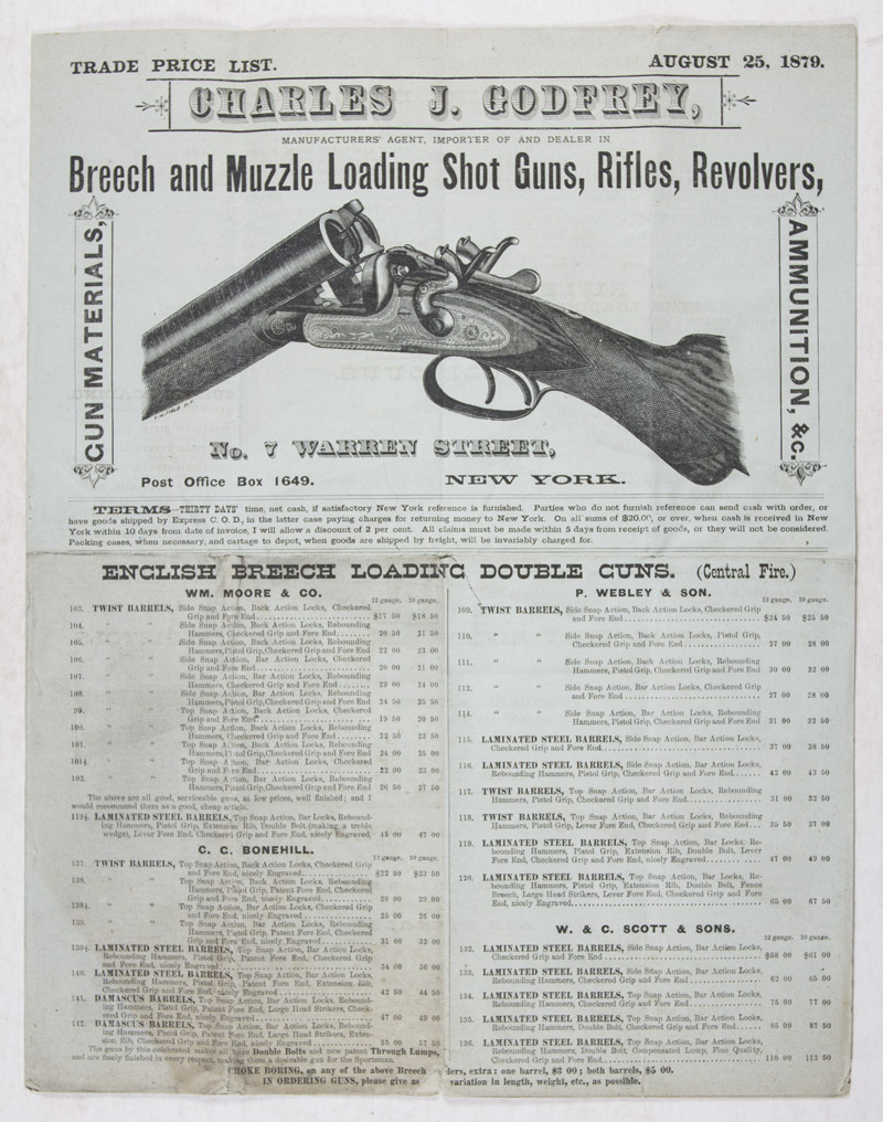 Trade Price List  August 25, 1879  Charles J  Godfrey, Manufacturers'  Agent, Importer of and Dealer in Breech and Muzzle Loading Shot Guns,  Rifles,