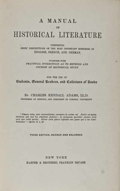 A Manual of Historical Literature by Charles Kendall Adams on Eric Chaim  Kline, Bookseller