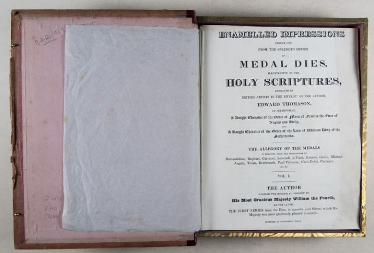 Enamelled impressions struck off from the splendid series of medal dies, illustrative of the Holy Scriptures, Engraved by British artists in the employ of the author... (Thomason's Medallic History of the Bible). 2-vol. set (Complete). Edward Thomason.