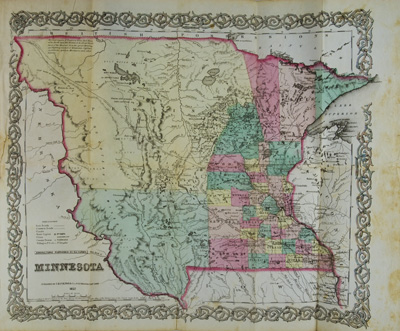 First Accurate Map Of The World.The Minnesota Handbook For 1856 7 With A New And Accurate Map
