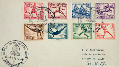 original envelope with eight illustrated 1936 olympic post stamps