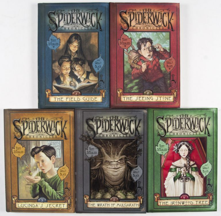 The Spiderwick Chronicles Books 1-5 (5 vols. Complete) [SIGNED BY BOTH AUTHOR AND ILLUSTRATOR, WITH AN ORIGINAL DRAWING]. Tony DiTerlizzi, Holly Black.