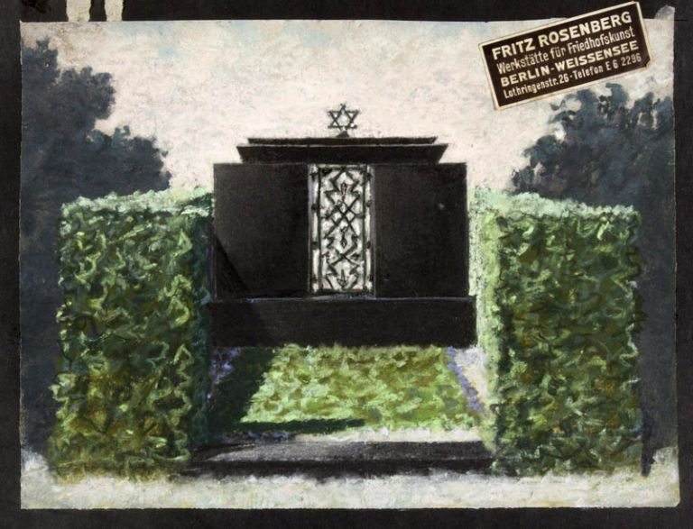 Unique Collection of Fifty-Nine Original Renderings & Photographs of Jewish and Christian Cemetery Monument Designs by Fritz Rosenberg and Hans Fink Predominantly for the Weissensee Friedhofs (many with original signature by Fink). Fritz Rosenberg, Hans Fink.