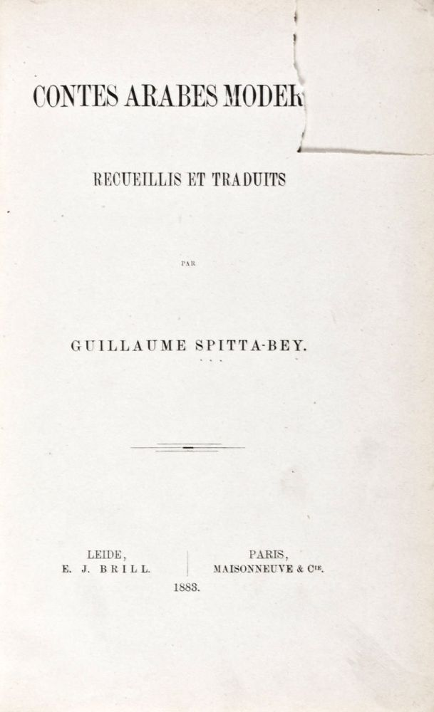 Contes Arabes Modernes. Guillaume Spitta-Bey, Ed.