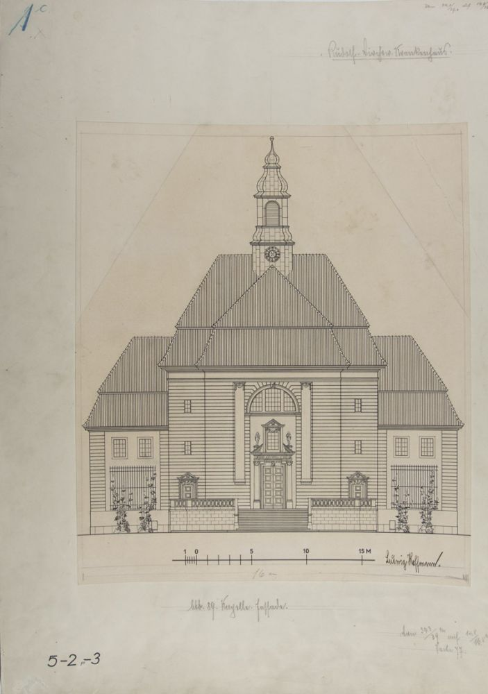 Collection of 10 original printed architectural plans & drawings by Ludwig Hoffmann of the Rudolf-Virchow-Krankenhaus (Hospital) in Berlin-Wedding. Signed & annotated by Hoffmann, some also signed by Stadtbauinspektor Tietze. Ludwig Hoffmann.