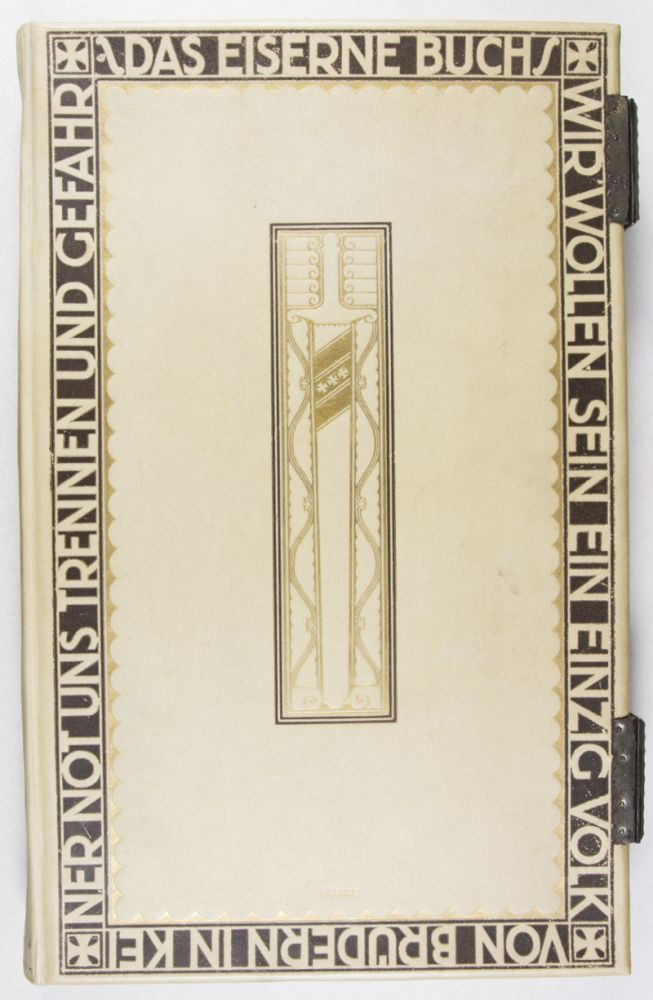 Decorative Full Vellum Binding designed by Johann Vinenz Cissarz (issued for the purpose of documenting a German city's chronicle during World War I). Johann Vinzenz Cissarz.