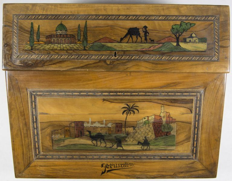 In Laid and Illustrated Olive Wood Palestine Writing Desk. n/a.