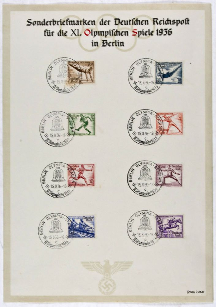 1936 Berlin Olympic Games commemorative stamp collection. Max Eschle.