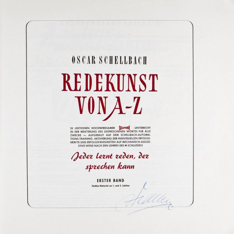 Redekunst von A-Z (The Art of Public Speaking) [SIGNED BY AUTHOR]. Oscar Schellbach.