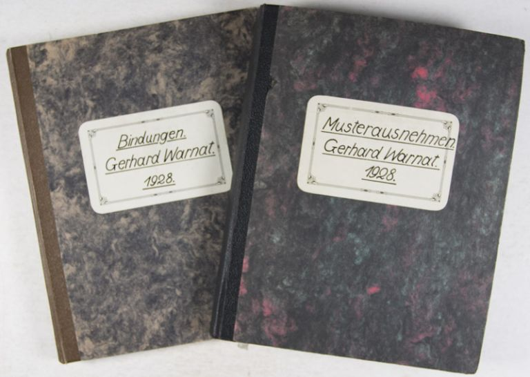 Musterausnehmen & Bindungen. 2-vol. set (Complete) [INTERWAR GERMAN TEXTILE MANUSCRIPT, WITH MOUNTED FABRIC SAMPLES]. Gerhard Warnat.
