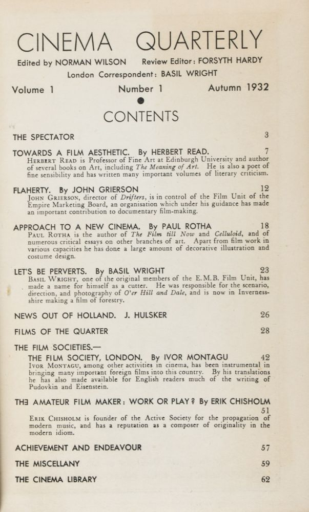 Cinema Quarterly: Vol. I (Nos. 1, 2, 3 & 4) & Vol. II (Nos. 1, 2, 3, & 4), 2. Vols. set (Complete) [FROM THE PERSONAL LIBRARY OF PAUL BURNFORD*]. Norman Wilson, Forsyth Hardy, Review.