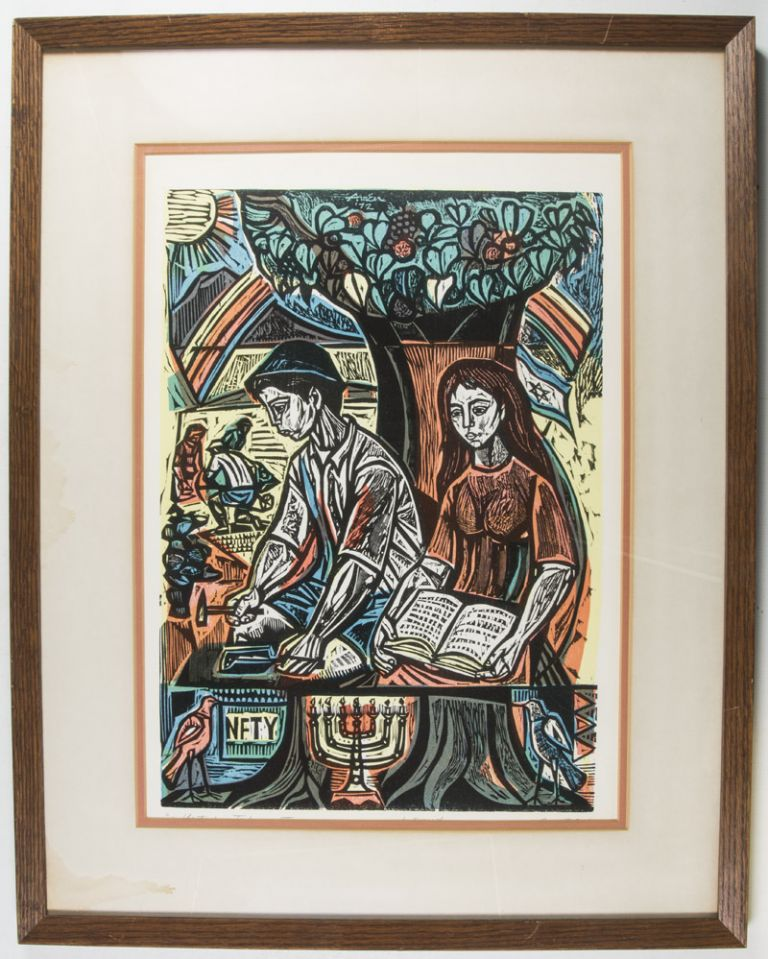 Yesterday, Today, and Tomorrow [SIGNED ARTIST PROOF WOODCUT]. Irving Amen.