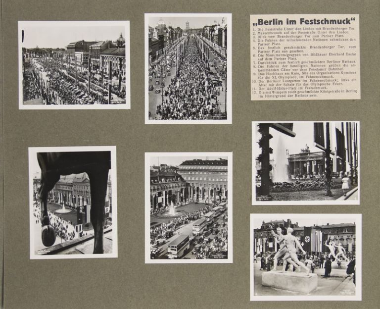 Olympia-Jahr 1936 (Photo-Album containing 216 photographs + 18 caption cards pertaining to the Berlin 1936 Olympics) [COMPLETE SERIES]. N/A.