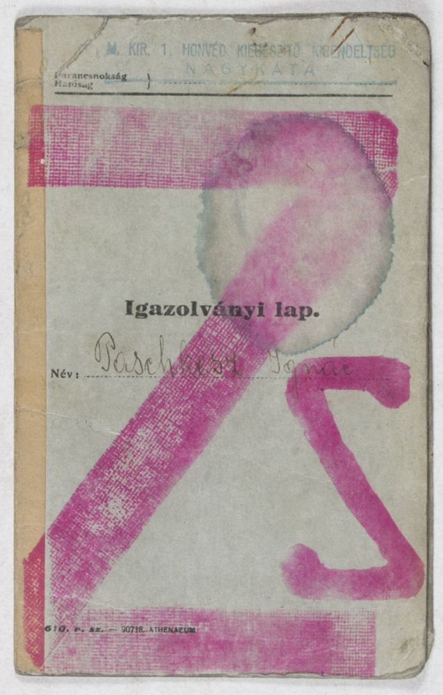 Igazolványi lap [Identification Card issued for an Hungarian Jewish man during WWII]. n/a.