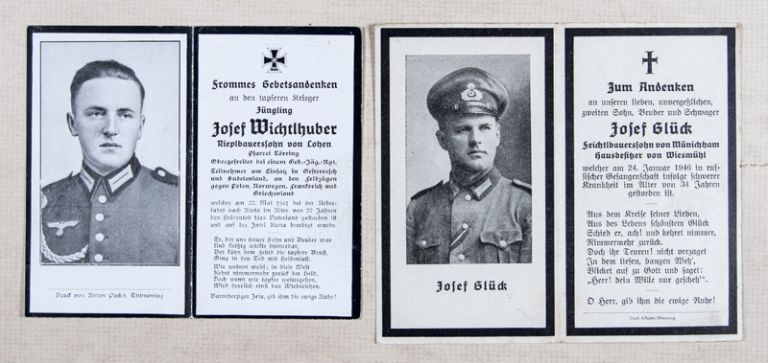 Collection of 182 Death Notices of Wehrmacht soldiers killed in action  during the Second World War WITH 7 pre-, and post-WWII death notices of