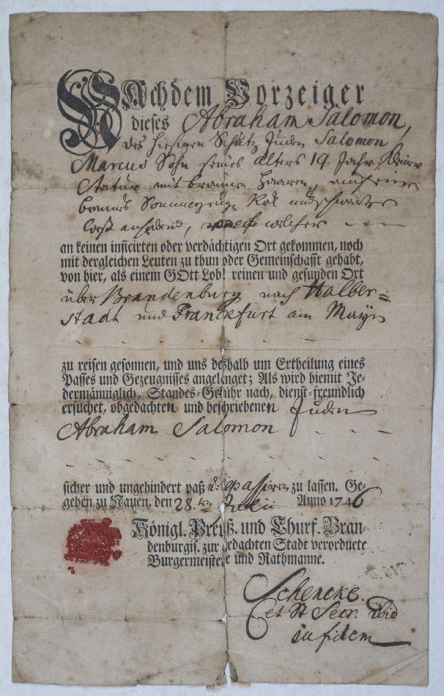18th Century Printed and Manuscript Prussian Passport for the Jew Abraham Salomon. n/a.