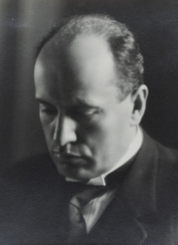 Photograph: Portrait of Mussolini [INSCRIBED BY BENITO MUSSOLINI TO LOUIS BARTHOU]. Benito Mussolini, Louis Barthou.