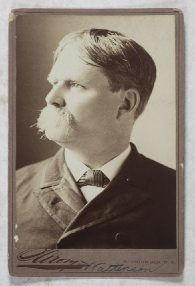 Collection of Seven Original Cabinet Portraits of Press Magnates and Journalists: James Gordon Bennett, Jr.; Horace Greeley; Col. Henry Watterson; Archibald Forbes [SIGNED]; Theodore Tilton; Edgar Wilson Nye [INSCRIBED AND SIGNED]. Sarony, Faber, H. J. Myers.