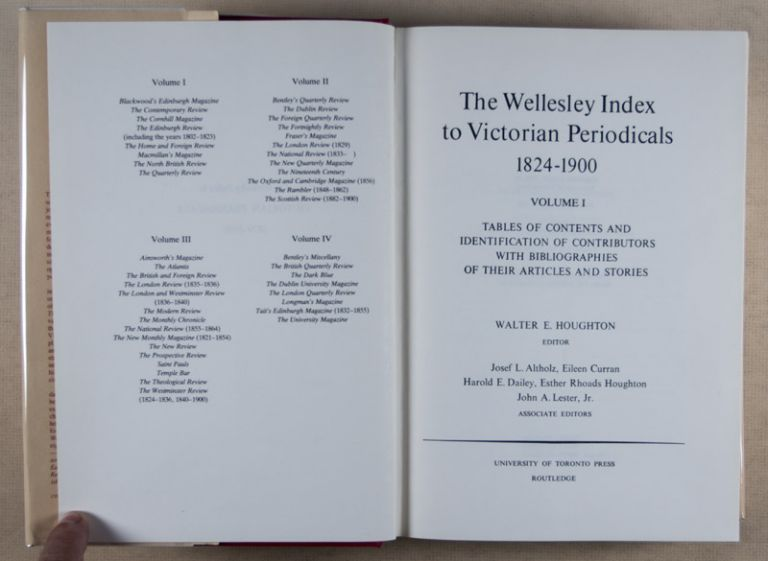 The Wellesley Index to Victorian Periodicals 1824–1900, 5 Vols. Walter Houghton, E.