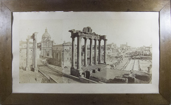 Monumental Panoramic View of The Forum Romanum, the Temple of Saturn in the foreground [ORIGINAL 3-PART ALBUMEN PRINT]. Domenico Anderson, Photographer.