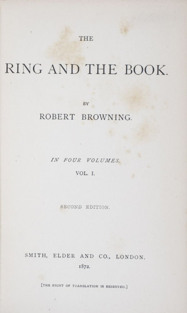 The Ring and the Book (complete in 4 vols.). Robert Browning.