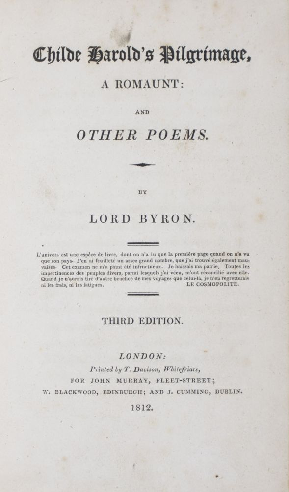 Childe Harold's Pilgrimage, A Romaunt: and Other Poems. Lord Byron.