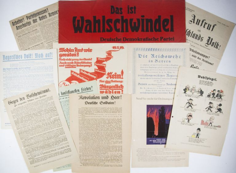 Collection of 73 political flyers distributed during the 1919 and 1920 electoral campaigns in Bavaria. n/a.