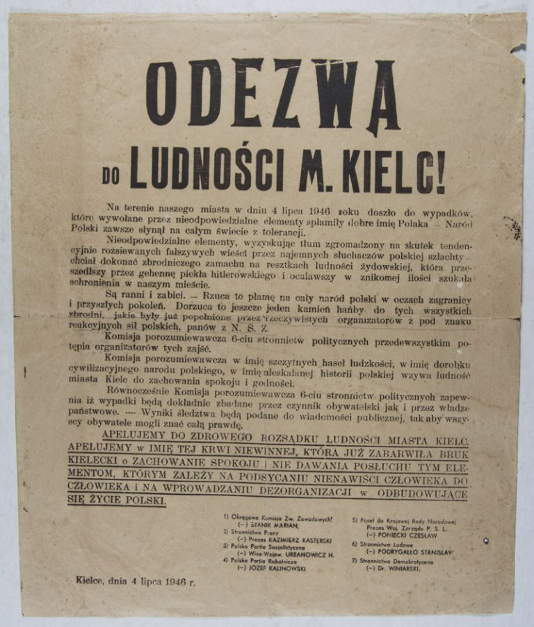 """Odezwa do Ludnosci M. Kielc!"" (Appeal to the People of the City of Kielce). n/a."