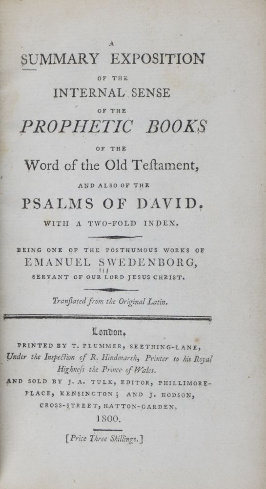 A Summary Exposition Of The Internal Sense Of The Prophetic Books Of