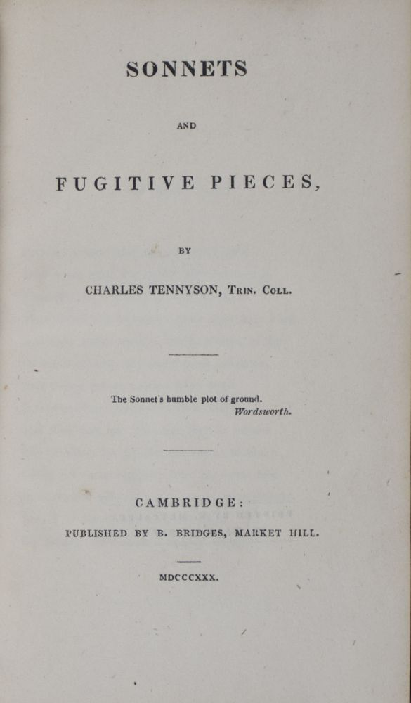 Sonnets and Fugitive Pieces. Charles Tennyson.
