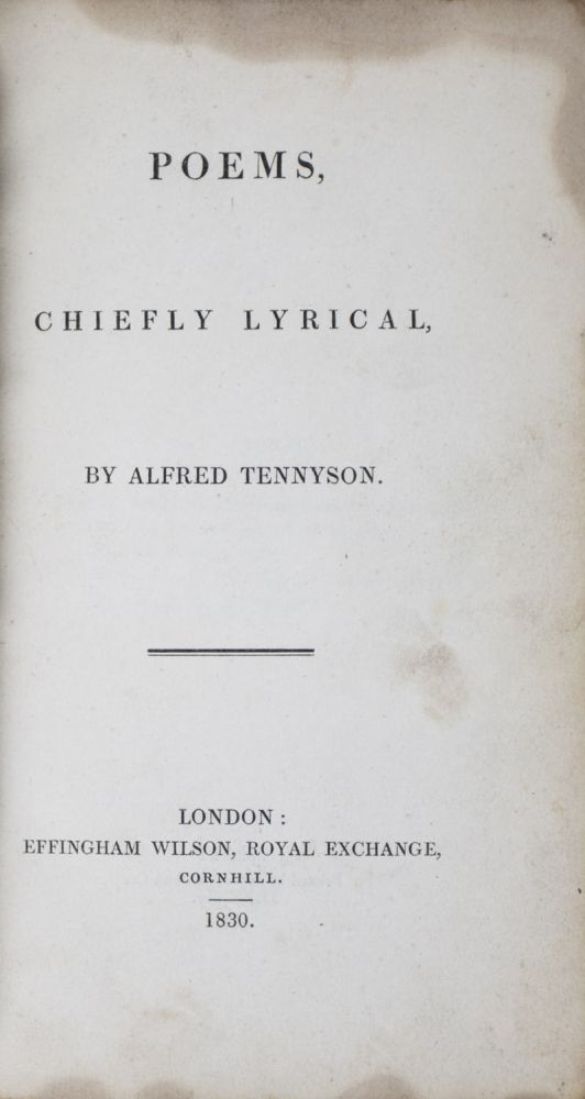 Poems, Chiefly Lyrical. Alfred Lord Tennyson.