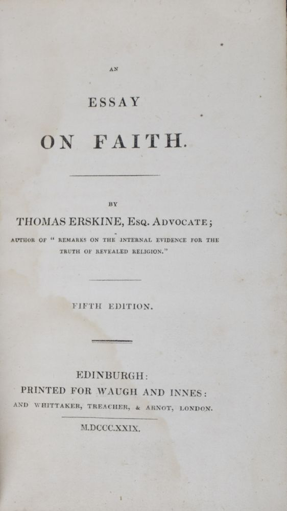 An Essay On Faith Signed  Inscribed By Emily Tennyson  Thomas  An Essay On Faith Signed  Inscribed By Emily Tennyson  Thomas Erskine   Fifth Edition