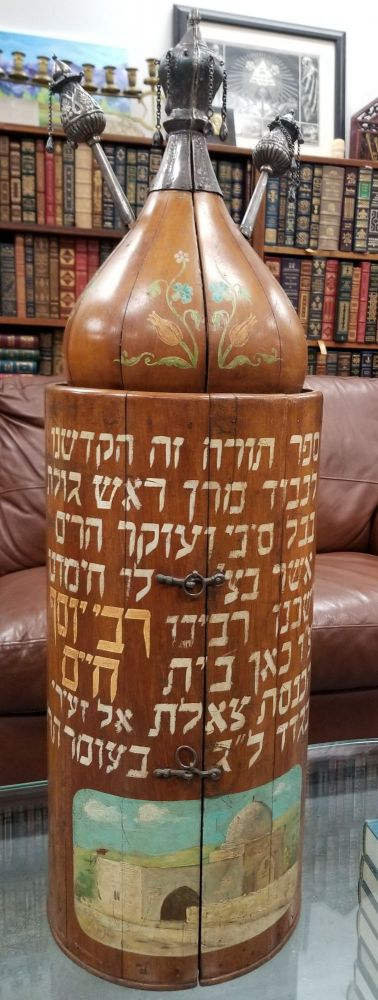 Unique 19th Century Painted Wooden Torah Case (Tik) [WITH] Torah scroll and Ornaments. n/a.