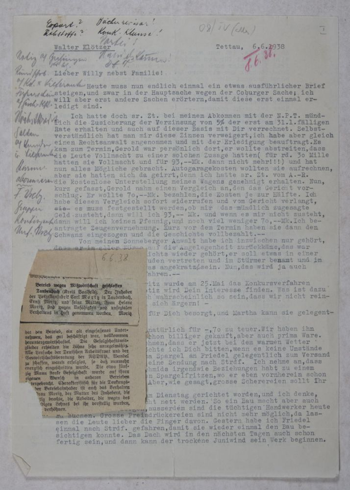 Arianization of M. Elsbach & Co. in Coburg: Correspondence and Documents. n/a.