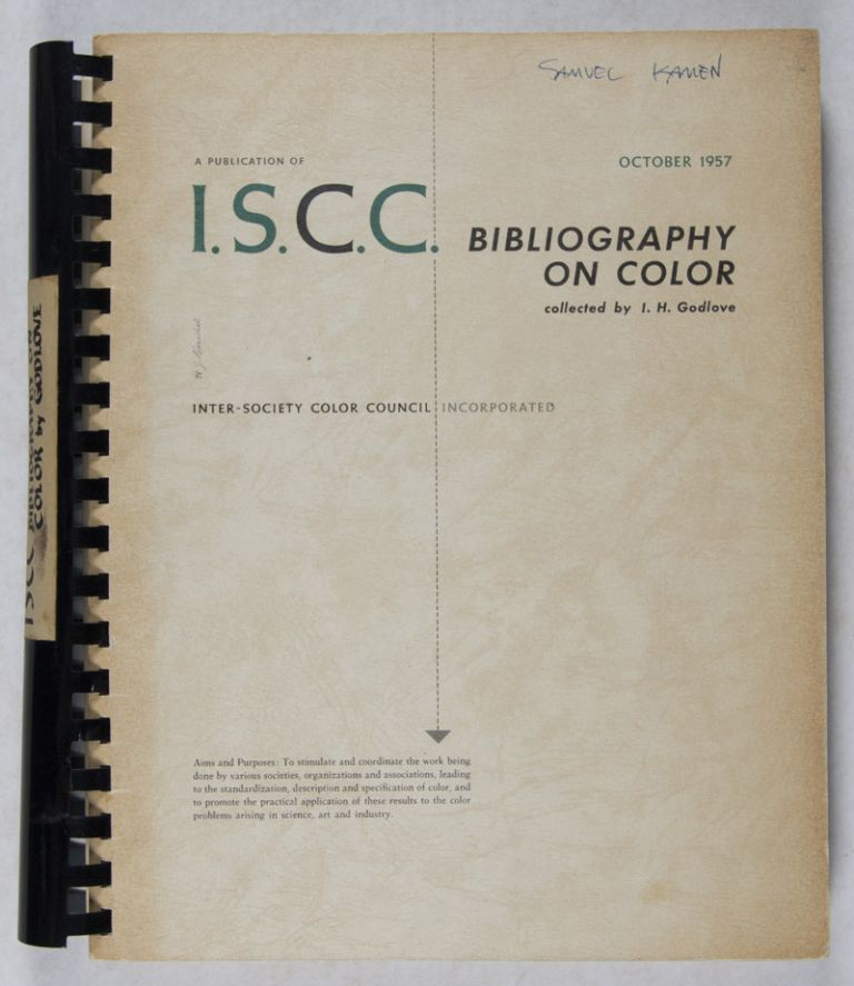 Bibliography on Color from the Inter-Society Color Council News Letter, 1936–1954. I. H. Godlove, Margaret N. Godlove, Deane B. Judd.
