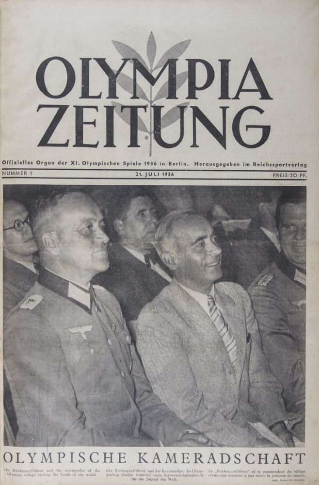 Olympia Zeitung. The complete 30 issue-run, from July 21 to August 19, 1936 [FROM THE PERSONAL LIBRARY OF BRITISH PENTATHLETE ARCHIBALD FREDERICK MACLEAN JACK*]. Presse-Bild-Zentrale, Presse-Photo GmbH, Weltbild, Scherl, Presse-Illustrationen Hoffmann, Dr. P. Wolff.