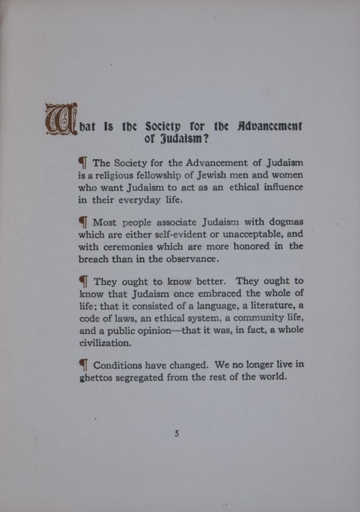 The Society for the Advancement of Judaism. Mordecai M. Kaplan.