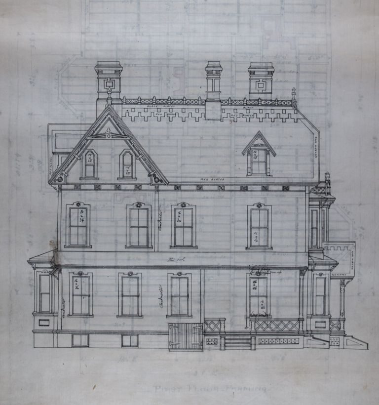 16 Architectural Plans and Drawings for the House of L. J. Pratt by the Architect George F. Meacham [WITH] Original 32 Page Manuscript with Specifications of the Contract. George F. Meacham, arch.