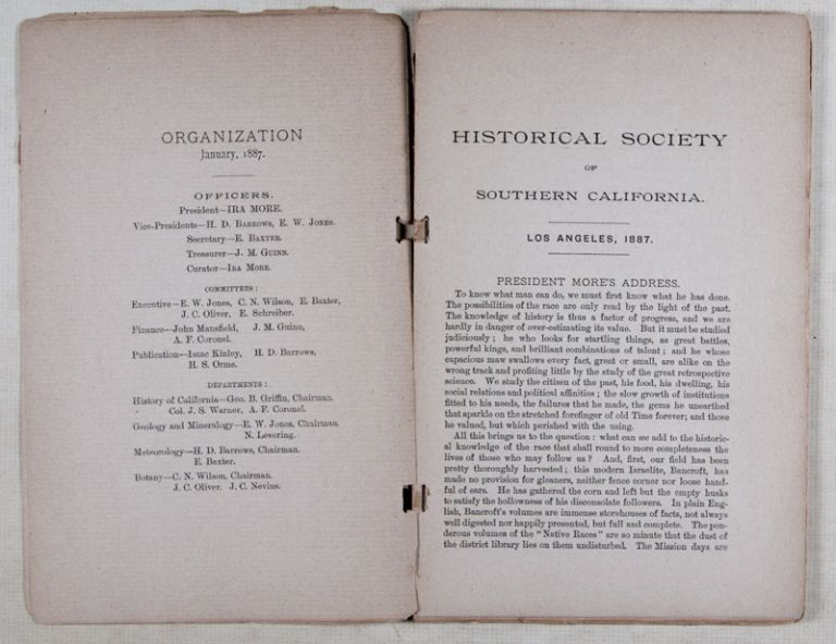 Historical Society of Southern California, Los Angeles 1887. n/a.