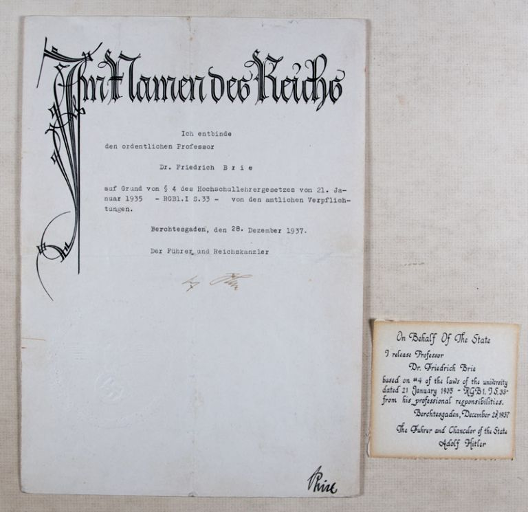 Im Namen des Reichs: Adolf Hitler Removes Jewish Professor and Resistance Member Dr. Friedrich Brie from his University Chair (Signed Adolf Hitler). n/a.