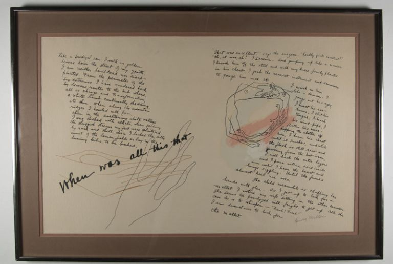 """""""When was all this that"""" [SIGNED Original Screen Print); Text from """"The Cosmological Eye"""" with original art work added. Henry Miller."""