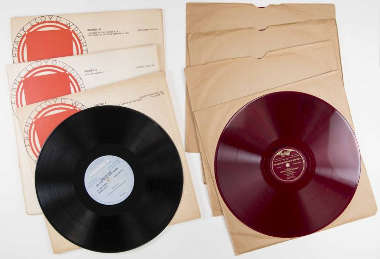 """Collection of Audio Recordings of Frank Lloyd Wright. """"Frank Lloyd Wright on Architecture"""", Three LP Set (1952) [WITH] """"Address of Frank Lloyd Wright in Accepting the Gold Medal of the A.I.A. (1949) (On Red Vinyl) [7 VINYL RECORDS IN TOTAL]. Frank Lloyd Wright."""