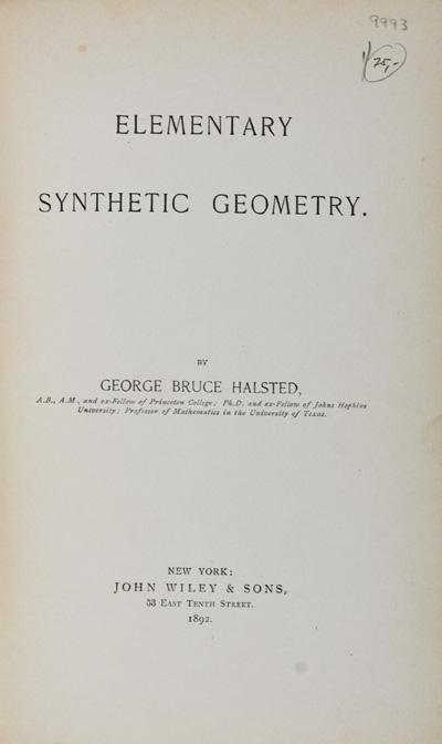 Elementary Synthetic Geometry. George Bruce Halsted.