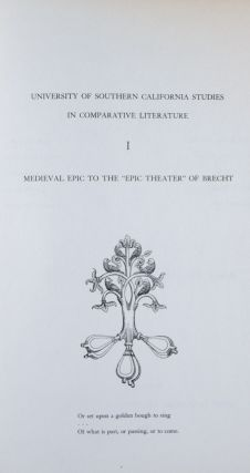 "Medieval Epic to the ""Epic Theater"" of Brecht: Essays in Comparative Literature. Rosario P...."