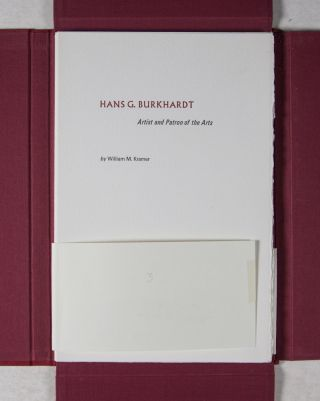 Hans G. Burkhardt: Artist and Patron of the Arts [SIGNED]