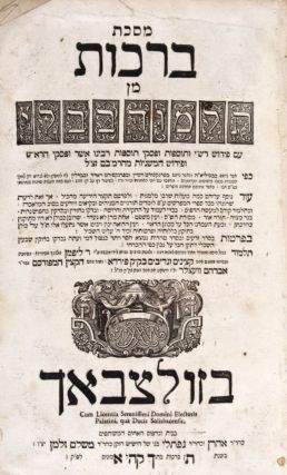 "Talmud Bavli :  Im perush Rashi ve-Tosafot u-Fiske Tosafot u-Ferush ha-Mishanyot meha-Rambam /  kefi asher nidpas be-Basilah h"" vekha-asher nidpas be-Frankfort de-Mayn u-Frankfort de-Oder uve-Berlin: 1) Berakhot. Pe'ah. Demai. Kil'ayim. Shebi'ith. Terumoth. Ma'aseroth. Ma'aser Sheni. Hallah. 'Orlah. Bikkurim. 2) Shabbat. 'Erubin. 3) Pesahim. Bezah. Hagigah. Mo'ed Katan. 4) Rosh Hashana. Ta'anith. Yoma. Sukkah. Shekalim. Megillah. 5) Yabamoth. Kethuboth. Kiddushin. 6) Gittin. Nedarim. Nazir. Sotah. 8) Baba Bathra. Abodah Zarah. 9) Sanhedrin. Makkoth. Shawouth. 'Eduyoth. Horayoth. Avoth. Sofrim. Smehoth. Kalah. Derekh Eretz. 10) Zebahim. Menahoth. Bekhorot. 11) Hullin, Kerithoth. Temurah. Me'ilah. Tamid. Middoth. Kinnim. 'Arakhin. 12) Niddah. Kelim. Oholoth. Nega'im. Parah.Tohorot. Mikwa'oth. Makhshirim. Zabim. Tebul Yom. Yadayim. Ukzin. Missing: 7) Baba Kamma. Baba Mezi'a. publ, Rabbi Aharon, Rabbi Naftali Frankel."