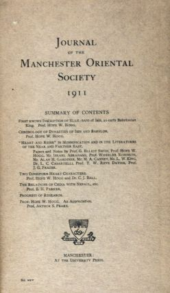 Journal of the Manchester Oriental Society 1911. Hope W. Hogg