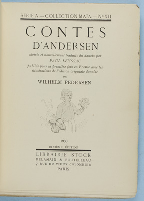 Contes D'Andersen [INSCRIBED by TRANSLATOR]