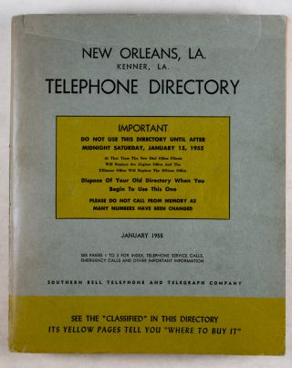 New Orleans, LA. Kenner, LA. Telephone Directory (January 1955). Southern Bell Telephone,...