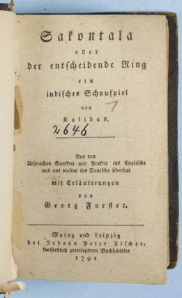 Sakontala oder der entscheidende Ring. Ein indisches Schauspiel von Kalidas De Abbreviaturis Hebraicus cui accessarent Operis Talmudici brevis recensio, cum ejudemlibrorum & capitum Indice. Item Bibliotheca Rabbinica nova, ordine Alphabetico disposita. Editione hac Secunda. Omnia castigatiora & locupletiora. Including appendix. The Faiths of the World. Lecture I: Religions of India: Vedic Period - Brahmanism. (St. Giles' Lectures - Second Series). (Edinburgh and London: William Blackwood and sons. no date.). 36pp. The Faiths of the World. Lecture II: Religions of India: Buddhism. (St. Giles' Lectures - Second Series). Georg Forster, Johannes, John Caird, Johann Buxtorf the Elder, Joannem Buxtorfium, Joannes Buxtorfius.